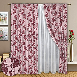 Шторы для комнаты РеалТекс Комплект штор №008 Брусника шторы реалтекс классические шторы neville цвет брусника