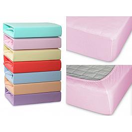 Простыни Cleo Простынь трикотажная на резинке Cleo, светло-розовый, 120*200*20 см простыня на резинке cleo 160х200 см cl