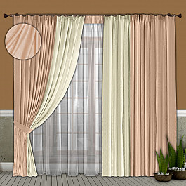 Шторы для комнаты РеалТекс Комплект штор №066 Бледно-розовый/Молочный (софт) комплект одежды для девочки осьминожка дружба цвет молочный розовый т 3122в размер 56