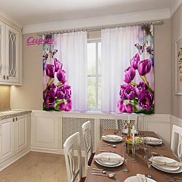 Фотоштора Сирень Фотошторы для кухни Фиолетовые тюльпаны цена