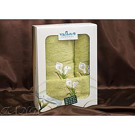 Полотенца Yagmur Комплект полотенец Yagmur ZAMBAK (Кала) Cotton в коробке (30*50; 50*90; 70*140), салатовый цена