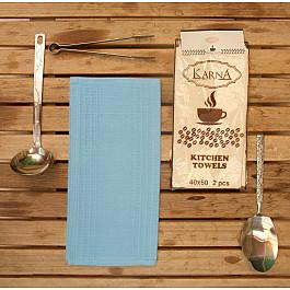 Наборы полотенец для кухни Karna Набор вафельных салфеток MEDLEY, голубой, 40*60 см - 2 шт набор салфеток karna affagato coffee 40 60 см 2 предмета