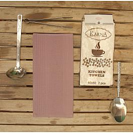 Наборы полотенец для кухни Karna Набор вафельных салфеток MEDLEY, грязно-розовый, 40*60 см - 2 шт набор салфеток karna affagato coffee 40 60 см 2 предмета