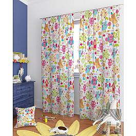 Шторы для детской TomDom Комплект штор Геба-К, голубой, розовый, оранжевый, 260 см комплект штор witerra тергалет 10709 голубой 140 260 см