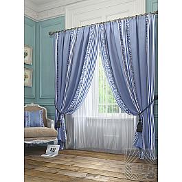 Шторы для комнаты TomDom Комплект штор Бурт, голубой, 260 см комплект штор witerra тергалет 10709 голубой 140 260 см