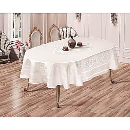 Скатерти Karna Скатерть жаккард пано KARNA CARAMEL, овальная, белый, 160*220 см скатерть karna жаккард пано caramel 160х220 овал 2797 char001