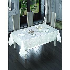Скатерть с салфетками с люрексом Do&Co Maxi Gloria, серебряная, 160*220 см