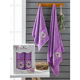 Полотенца Merzuka Комплект махровых полотенец Merzuka Roza (50*90; 70*140), фиолетовый полотенца merzuka комплект махровых полотенец merzuka roza 50 90 2 70 140 кремовый