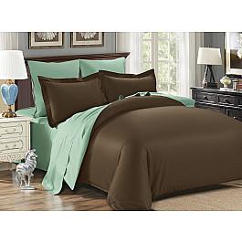 Постельное белье KARNA Сатин двухстороннее SANFORD (1.5 спальный), коричневый, зеленый