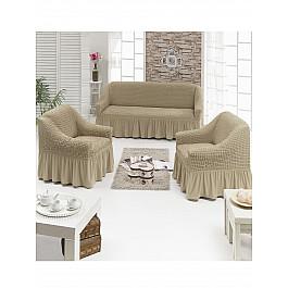 Чехлы для мебели DO&CO Набор чехлов для дивана и кресел DO&CO 3+1+1, молочный набор чехлов для дивана и кресел мартекс с карманами 3 предмета 05 0751 3
