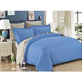 Постельное белье KARNA Сатин двухстороннее SANFORD (1.5 спальный), голубой, бежевый