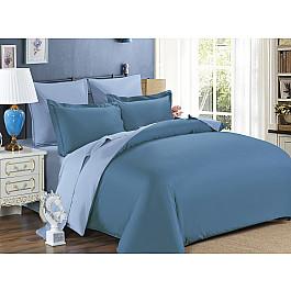 Постельное белье KARNA Сатин двухстороннее SANFORD (1.5 спальный), синий (саксен), серый