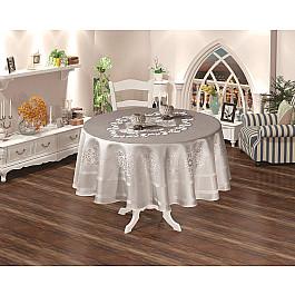 Скатерти Karna Скатерть жаккард пано KARNA CARAMEL, круглая, серый, 160 см скатерть karna жаккард пано caramel 160х220 2796 char001