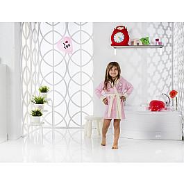 Халат махровый Karna Халат детский велюр KARNA SNOP, на 6-7 лет, розовый детские халаты luxberry детский халат совята цвет жемчужный коричневый белый 7 8 лет
