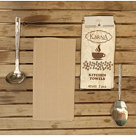 Наборы полотенец для кухни Karna Набор вафельных салфеток MEDLEY, бежевый, 40*60 см - 2 шт набор салфеток karna affagato coffee 40 60 см 2 предмета