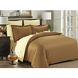 Постельное белье KARNA Сатин двухстороннее SANFORD (1.5 спальный), кофейный, кремовый