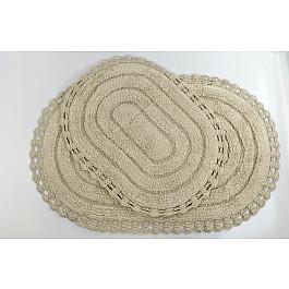 "Набор ковриков для ванной кружевной ""MODALIN YANA"" (60x100; 50x70), капучино"