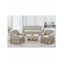 Чехлы для мебели Juanna Набор чехлов для дивана и кресел JUANNA KOZA 3+1+1, кремовый набор чехлов для дивана и кресел мартекс с карманами 3 предмета 05 0751 3