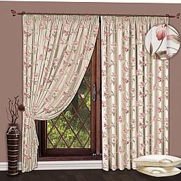 Шторы для комнаты РеалТекс Комплект штор №114 Цветы Розовый шторы реалтекс шторы с ламбрекеном радость цвет розовый
