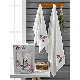 Полотенца Merzuka Комплект махровых полотенец Merzuka Roza (50*90; 70*140), кремовый полотенца merzuka комплект махровых полотенец merzuka roza 50 90 2 70 140 кремовый