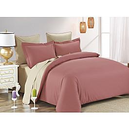 Постельное белье KARNA Сатин двухстороннее SANFORD (1.5 спальный), грязно-розовый, бежевый