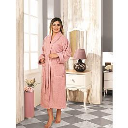 Халат махровый Karna Халат махровый женский KARNA BASIC, грязно-розовый, р. L (48) халат махровый арт постель халат банный женский с воротником белый р 5xl