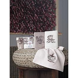 Наборы полотенец для кухни Karna Набор полотенец кухонных махровых KARNA CAFE PRIMA, v1, 30*50 см - 3 шт набор махровых полотенец issimo home jacquelyn цвет бежевый 30 x 50 см 4 шт
