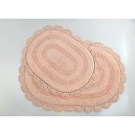 """Набор ковриков для ванной кружевной """"MODALIN DIANA"""" (50x80; 45x60), абрикосовый"""