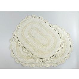 """Набор ковриков для ванной кружевной """"MODALIN DIANA"""" (50x80; 45x60), кремовый"""