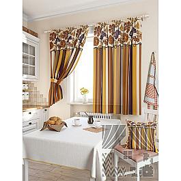 Шторы для кухни TomDom Комплект штор Абель, коричневый, 180 см комплект штор томдом абель малиновый