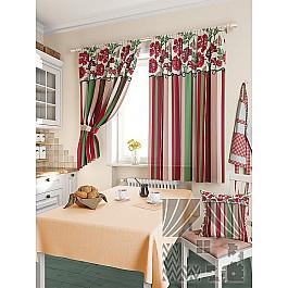 Шторы для кухни TomDom Комплект штор Абель, малиновый, 180 см комплект штор томдом абель малиновый
