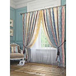 Шторы для комнаты TomDom Комплект штор Версаль, голубой, желтый, 260 см комплект штор witerra тергалет 10709 голубой 140 260 см