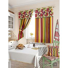 Шторы для кухни TomDom Комплект штор Абель, красный, 180 см комплект штор томдом абель малиновый
