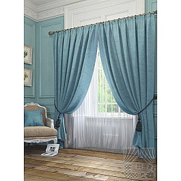 Шторы для комнаты TomDom Комплект штор Элисс, голубой, 260 см комплект штор witerra тергалет 10709 голубой 140 260 см