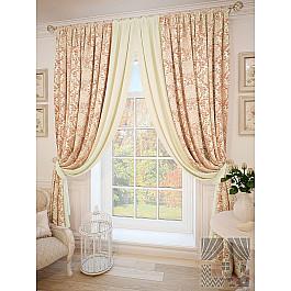 Шторы для комнаты TomDom Комплект штор Бейр, розовый, молочный, 275 см комплект одежды для девочки осьминожка дружба цвет молочный розовый т 3122в размер 56