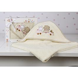 Полотенца Karna Полотенце-конверт детский KARNA BAMBINO-TRAIN, молочный, 90*90 см nanán детский конверт