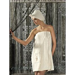 """Набор для сауны махровый женский с тапочками """"PHILIPPUS"""", кремовый"""