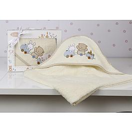Полотенца Karna Полотенце-конверт детский KARNA BAMBINO-TRAIN, кремовый, 90*90 см nanán детский конверт
