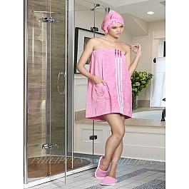 """Набор для сауны махровый женский с тапочками """"PHILIPPUS"""", розовый"""