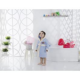 Халат махровый Karna Халат детский велюр KARNA SNOP, на 6-7 лет, голубой детские халаты luxberry детский халат совята цвет жемчужный коричневый белый 7 8 лет