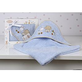 Полотенца Karna Полотенце-конверт детский KARNA BAMBINO-TRAIN, голубой, 90*90 см nanán детский конверт