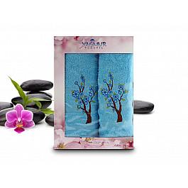 Полотенца Yagmur Комплект полотенец Yagmur SAKURA Cotton в коробке (50*90; 70*140), голубой цена