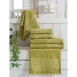 Полотенца Vevien Комплект махровых полотенец Vevien Zara, зеленый, 50*90 см - 3 шт цена