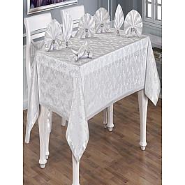 Скатерть с салфетками с кольцами Do&Co Kelebek, белая, 160*220 см