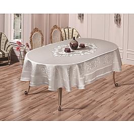 Скатерти Karna Скатерть жаккард пано KARNA CARAMEL, овальная, серый, 160*220 см скатерть karna жаккард пано caramel 160x300 2798 char001