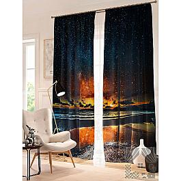 цена на Фотоштора TomDom Фотошторы Звездное небо над озером, синий, золотой, 260 см