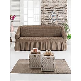 Чехлы для мебели DO&CO Чехол для дивана DO&CO трехместный, серо-коричневый чехол для трехместного дивана первый мебельный чехол для дивана милан трехместный