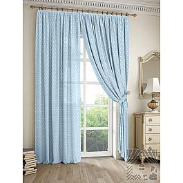 Шторы для комнаты TomDom Комплект штор Дрош (голубой), 260 см комплект штор witerra тергалет 10709 голубой 140 260 см
