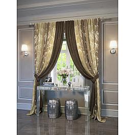 Шторы для комнаты TomDom Комплект штор Леви (коричнево-желтый) цена