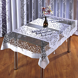 Скатерть с салфетками и накладками №3276-01, белая, серая